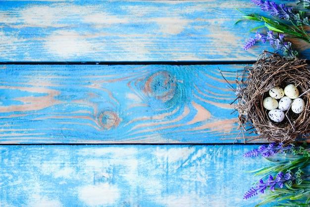 Un nido di uccello con uova di quaglia all'interno e fiori di salvia su uno sfondo di legno blu consumato.