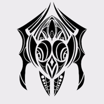 Uccello tatuaggio tribale colore nero illustrazione grafica, decorazione forma astratta e simbolo
