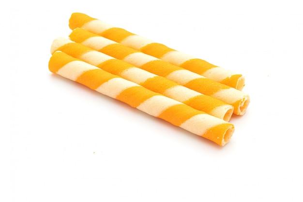 Biscotti wafer stick con crema all'arancia