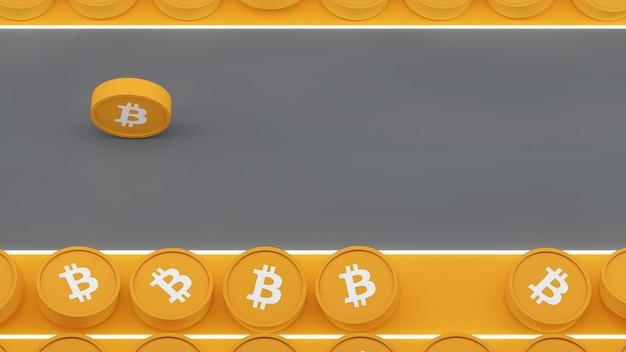 Bitcoin 3d icon sul concetto di pista da corsa di colore giallo e grigio 3d illustration