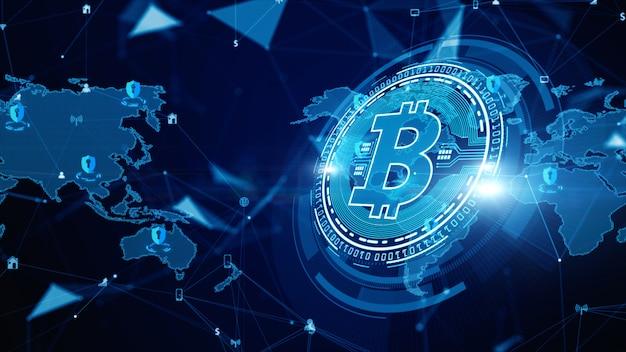 Crittografia digitale di criptovaluta blockchain bitcoin, scambio di denaro digitale, connessioni di rete tecnologiche