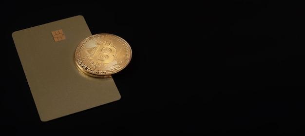 Moneta d'oro bitcoin o btc con segno di criptovaluta.
