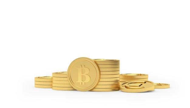Moneta bitcoin su una pila di monete in euro d'oro