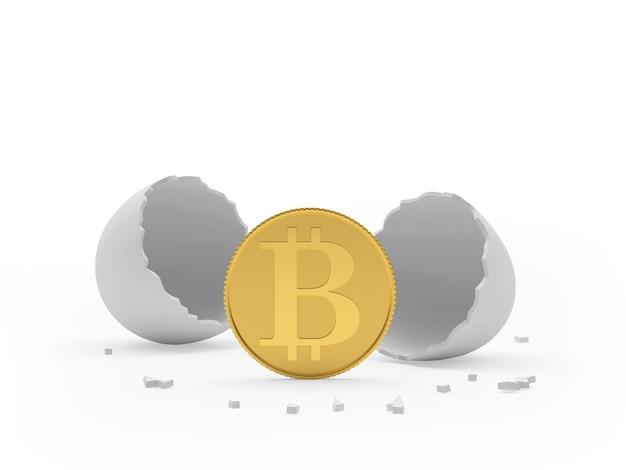Moneta bitcoin con guscio d'uovo rotto