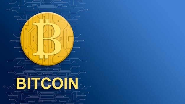 Moneta bitcoin con nome di valuta su sfondo blu tecnologia con elementi di circuito 3d