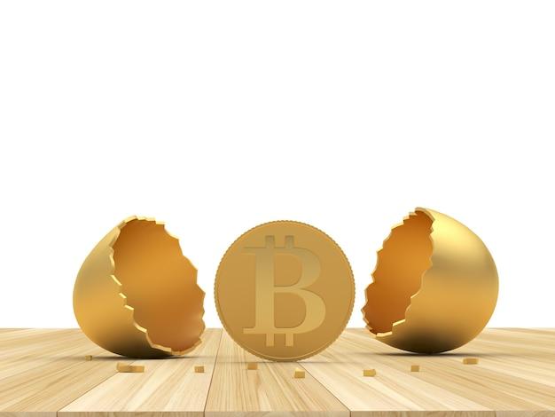 Moneta bitcoin con guscio d'uovo rotto dorato