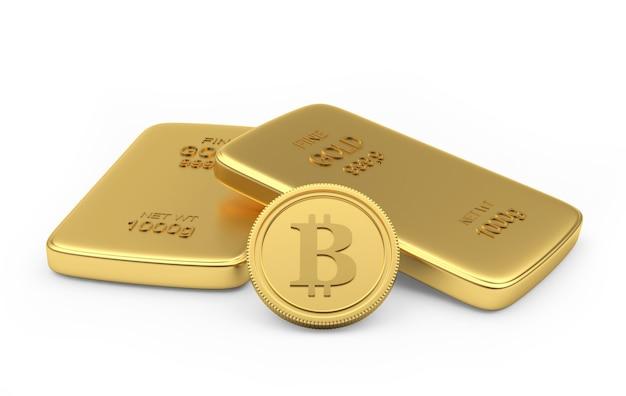 Moneta bitcoin con due lingotti d'oro