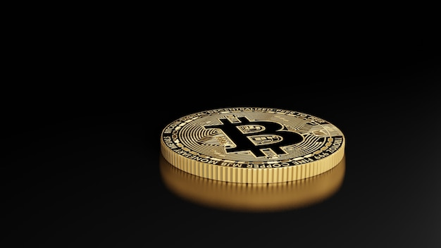 Monete bitcoin rendering 3d di denaro digitale