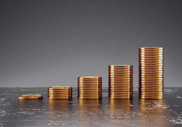 Monete bitcoin grafico di crescita impilato, trading sullo scambio di criptovaluta e concetto di risparmio di denaro finanziario.