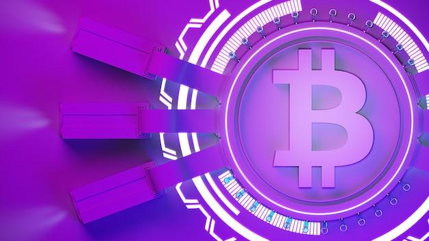 Bitcoin crypto valuta mining farm sfondo con copia spazio. illustrazione 3d di concetto finanziario incandescente