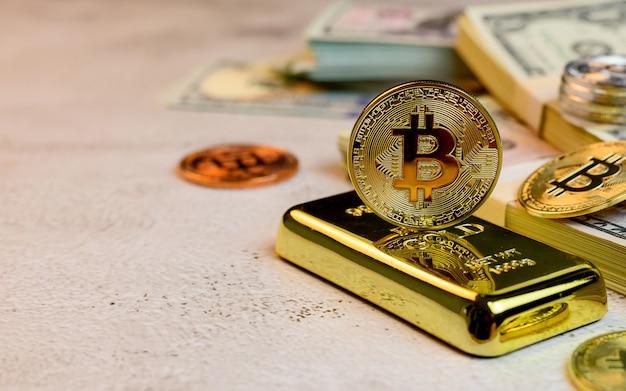 Bitcoin di valuta crypto. nuova attività di tecnologia del denaro virtuale per la catena di blocchi
