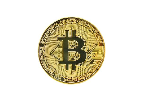 Bitcoin criptovaluta isolata su whitebackground