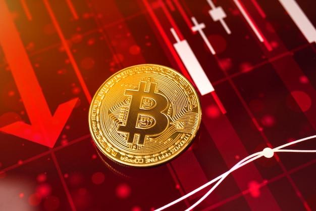 Bitcoin valore di criptovaluta caduta di prezzo, giù, grafico azionario rosso con frecce sullo sfondo