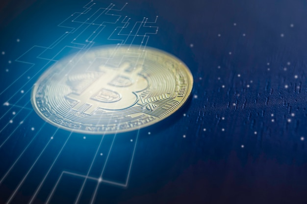 Soldi digitali bitcoin con grafica di connessione di rete internet, concetto di interruzione di denaro crittografico digitale