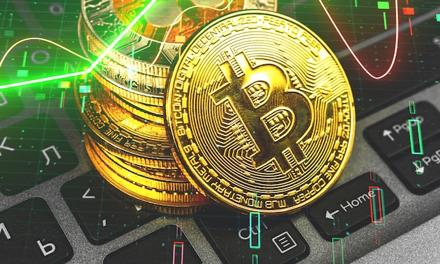 Bitcoin e barre del grafico del mercato azionario digitale, criptovaluta e concetto di crescita delle azioni, nuovo denaro virtuale e foto di sfondo degli investimenti