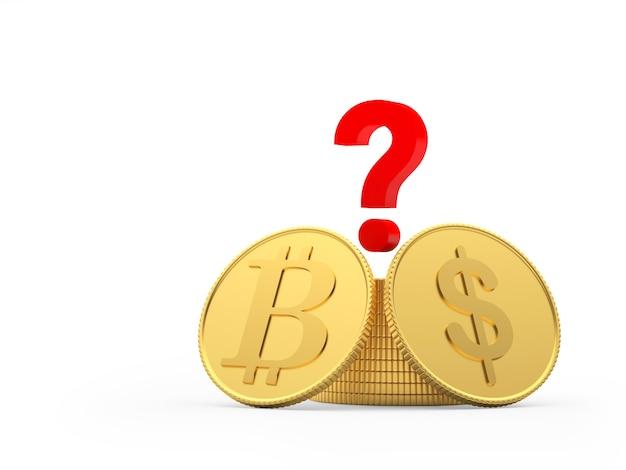 Bitcoin e monete del dollaro con il punto interrogativo