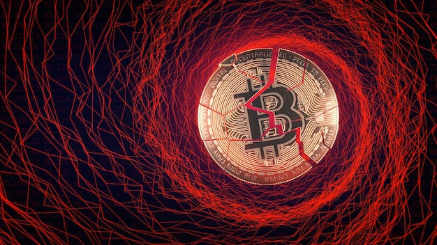 Bitcoin down trend panic sell concept 3d illustration