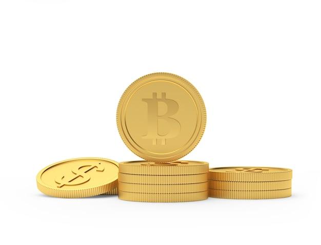 Moneta d'oro bitcoin su un mucchio di monete del dollaro