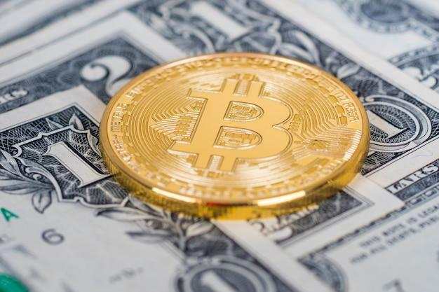 Moneta d'oro bitcoin con banconote in dollari