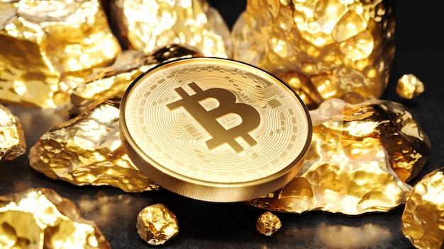 Moneta d'oro bitcoin con un pezzo d'oro