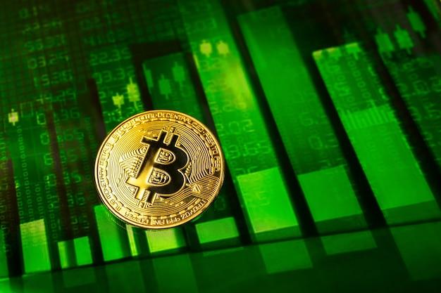 Crescita di bitcoin in aumento, foto di sfondo del grafico azionario verde