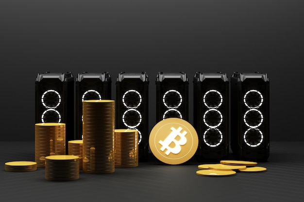Bitcoin sta diventando più prezioso dell'oro e della valuta oggi utilizzando apparecchiature informatiche nel settore minerario, il concetto di finanza in colore giallo. rendering 3d