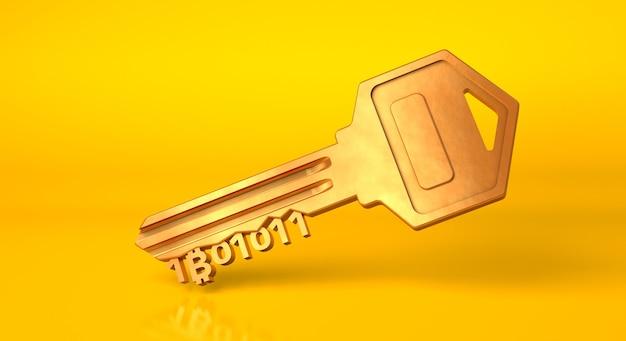Chiave bitcoin. chiave d'oro da criptovaluta su sfondo giallo. rendering 3d.
