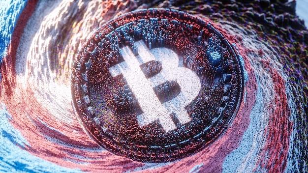 Bitcoin logo arte digitale. illustrazione futuristica 3d di simbolo di criptovaluta. sfondo crittografico.