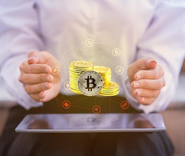 Bitcoin. nuova attività di tecnologia del denaro virtuale per blockchain