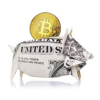 Bitcoin archiviato in modo sicuro nel dollaro usa isolato su uno sfondo bianco