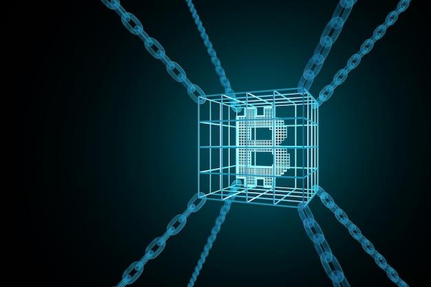 Segno bitcoin racchiuso in catene. concetto di catena di blocchi.