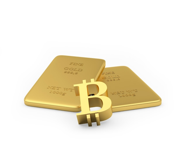 Segno di bitcoin con sottili lingotti d'oro