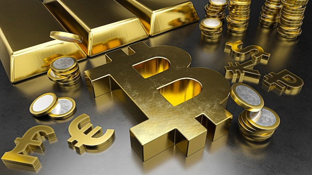 Bitcoin si distingue dalle altre valute, rafforzando il rublo. sfondo di borsa valori, bancario o finanziario.