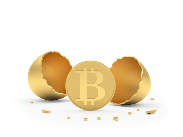 Bitcoin con guscio d'uovo rotto d'oro 3d