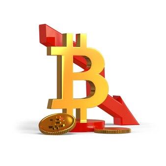 Bitcoin con grafico verso il basso valuta digitale crash 3d rendering illustrazione