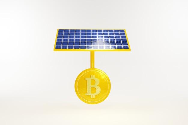 Bitcoin con pannello a celle solari isolare su sfondo bianco 3d illustration