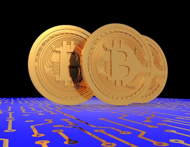 Bitcoin sul circuito stampato. 3d reso illustrazione
