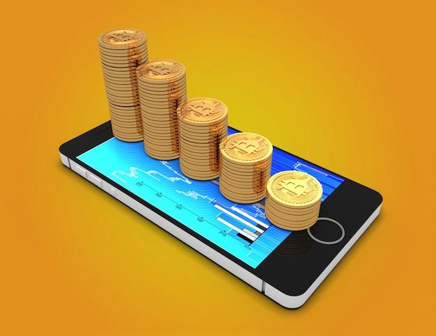 Bitcoin con grafico moneta. 3d reso illustrazione