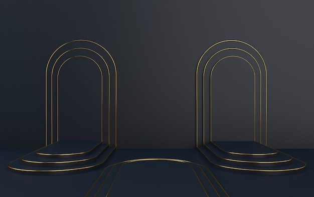 Arco nero con un podio, portale minimo, rendering 3d, scena con forme geometriche, sfondo astratto minimo, sfondo nero, cornice dorata rotonda