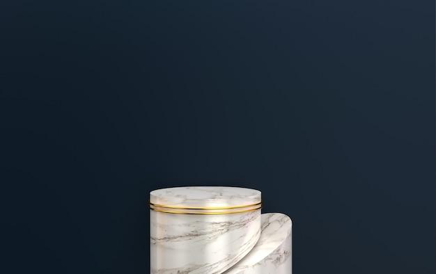 Sfondo nero, piedistallo in marmo cilindro, gruppo di forme geometriche astratte, rendering 3d, scena con forme geometriche