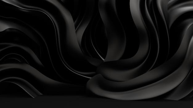 Sfondo nero con tessuto drappeggiato. illustrazione 3d, rendering 3d.