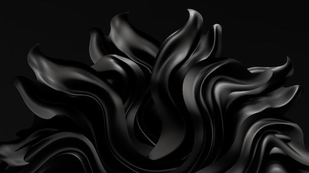 Sfondo nero con tessuto drappeggiato. rendering 3d.