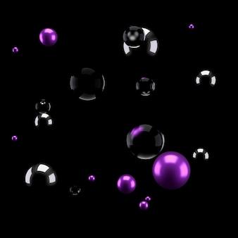 Sfondo nero con gruppo di elementi e metallo. illustrazione 3d, rendering 3d.