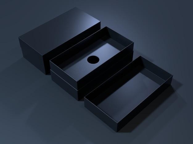 Scatola di cartone vuota nera rendering 3d.