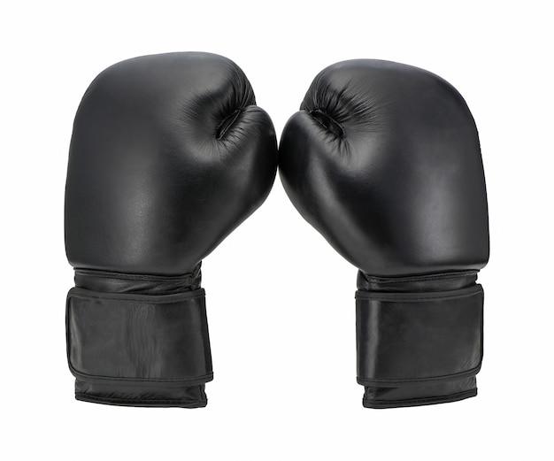 Guantoni da boxe neri isolati su sfondo bianco. abbigliamento sportivo