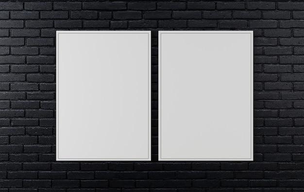 Il muro di mattoni nero, il fondo scuro per progettazione, deride sul manifesto sulla parete, la rappresentazione 3d