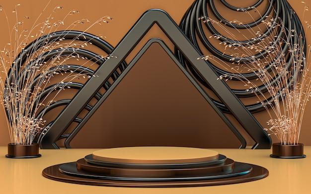 Display podio di lusso nero e marrone con sfondo astratto cerchio 3d rendering