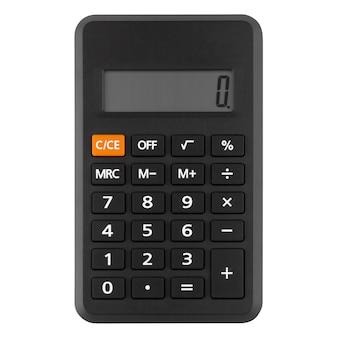 Calcolatrice pulsante nero isolato su sfondo bianco, vista dall'alto