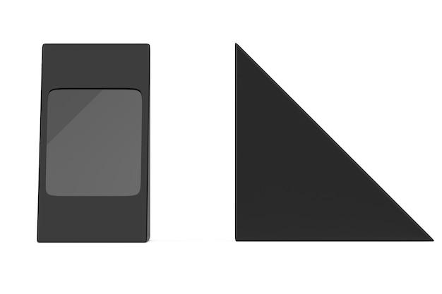 Scatola di cartone nera a triangolo per cibo, regali o altri prodotti con spazio vuoto per il tuo design su sfondo bianco. rendering 3d