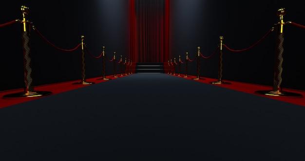 Tappeto nero sulle scale su uno sfondo scuro con tenda rossa alla fine, il percorso verso la gloria,
